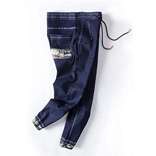 Laisla fashion Stazsx Jeans Men Men E E Pantalones Sueltos Ufige Primavera Y Clásico Verano Pantalones Elásticos Cintura Hombres Pantalones Hombres Chicos Blau