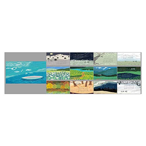 Leighhome Aquarium Sticker Hand Painted Landscape Illustrations Platform Calendar Template Fish Tank Backdrop Static Cling L23.6 x H11.8