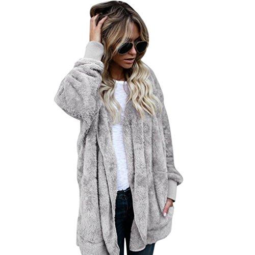FEITONG Mujeres con capucha de abrigo largo Chaqueta Sudaderas Parka Outwear Cárdigan Capa (Gris, L)