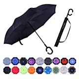 Umbrella,Windproof Waterproof Golf Umbrella,Double Layer Folding Inverted Anti-UV Protection Umbrellas,Reverse Sun Umbrella With C-Shaped Handle,Upside Down Umbrella for Car Rain Outdoor Use (black)