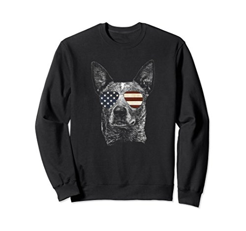 Unisex Australian Cattle Dog sweatshirt with USA flag sunglasses Medium Black ()