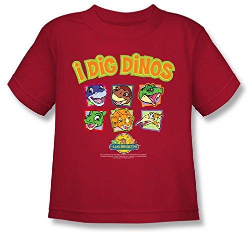 Price comparison product image Land Before Time I Dig Dinos Little Boys Shirt RED LG (4T)