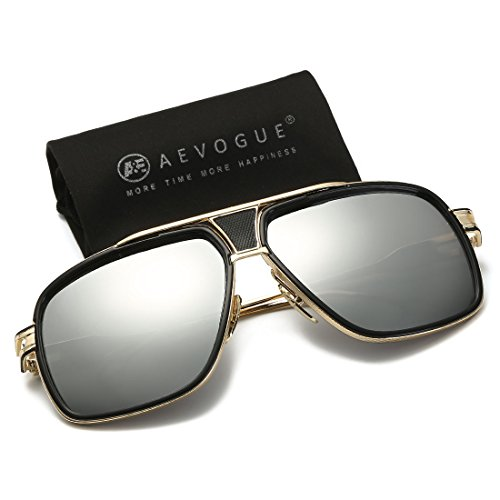 Frame Sunglasses Alloy - AEVOGUE Sunglasses For Men Goggle Alloy Frame Brand Designer AE0336 (Gold&Silver, 62)