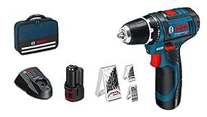 Bosch Professional GSR 12V-15 - Taladro atornillador a batería, 12 V, par de giro máximo 30 NM, 2 baterías x 2.0 Ah, set de 39 accesorios, cargador, con maletín de lona