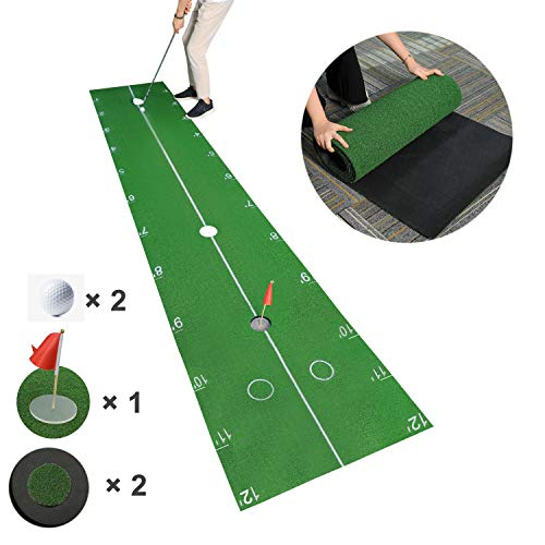TIANNBU Golf Putting Green 2.4×12ft Putting Mat Synthetic Turf Artificial Grass Lawn Easy Storage for Home Office Backyard Indoor - Golf 12'