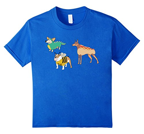Kids Goofy Dogs In Costumes Funny Halloween T-Shirt 8 Royal (Unique Homemade Halloween Costumes For Boys)