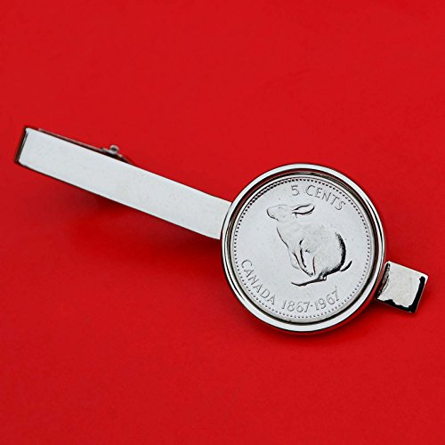 Canada 1967 Canada 5 Cent Rabbit Centennial Gem BU Coin Tie Clip Clasp Wildlife Animal