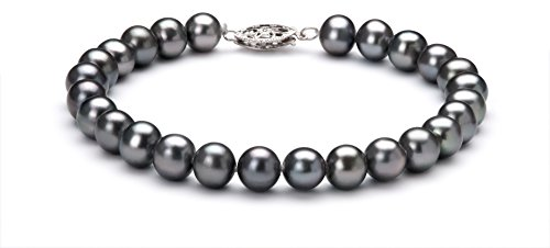 PearlsOnly - Black 6-7mm AA Quality Freshwater 925 Sterling Silver Cultured Pearl Set-16 in Chocker length by PearlsOnly (Image #2)