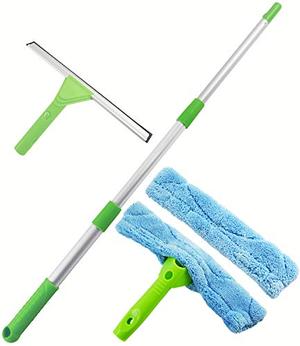 ITTAHO 12″Window Squeegee,Window Cleaning Tools Kit with Long Handle,Window Washer,Squeegee Shower Cleaner for Shower Door Glass Car Windshield Indoor Outdoor High Window Cleaning