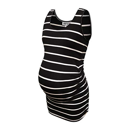 (RUMOR HAS IT Maternity Basic Round Neck Cotton Ruched Side Tank Top (Available in Plus Sizes) (Black/White, XX-Large))