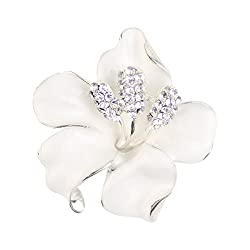 Flowers Brooch with Created Crystal
