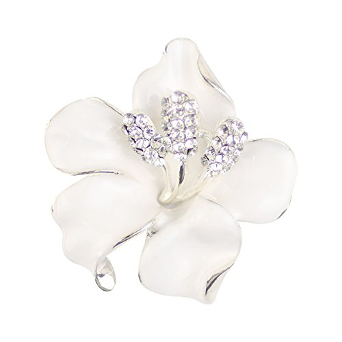 Merdia Brooch Pin for Women Flowers Brooch with Created Crystal White 29.8g ()