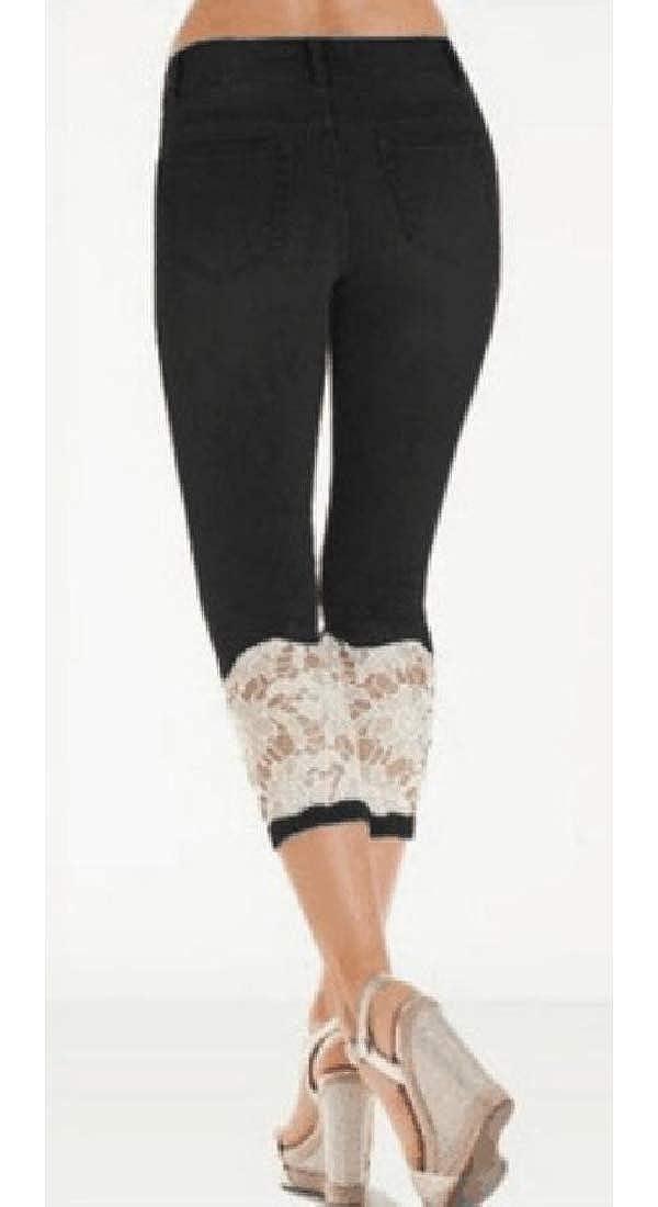 Etecredpow Women Capri High Waist Washed Lace Jeans Denim Pants