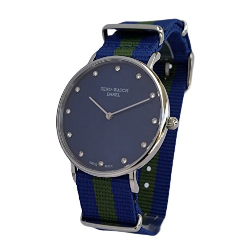 Reloj Suiza Zeno, cristal, zafiro), correa NATO nylon azul y verde, 12 Jewels: Amazon.es: Relojes