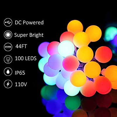NSEN Led String Lights, Colored Globe String Lights, 44Ft 100 LED, 8 Lighting Modes, Starry String Lights for Christmas Indoor Bedroom Outdoor Garden Patio Holiday Decoration