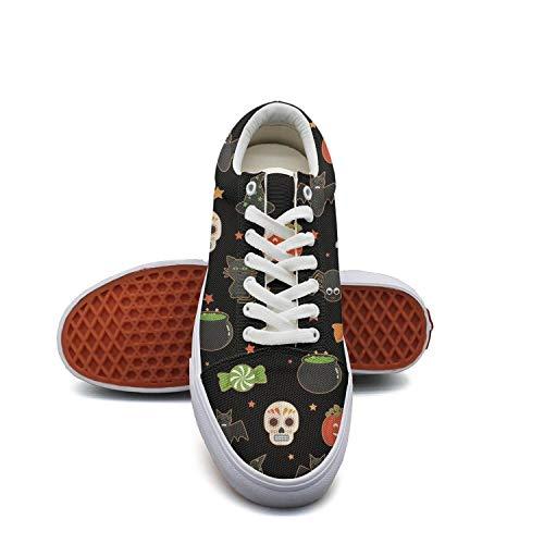 Halloween candy skull cat pumpkin black Women's Slip on shoes Low Top Sneaker -