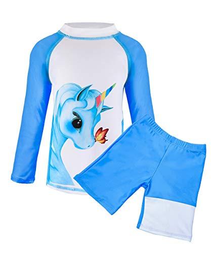 Suyye Girls Two Pieces Swimsuits Unicorn Rash Guard Tankini Kids Swimwear (Blue, 8-9 - Two Pack Girls