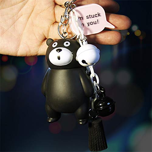 ziyouniu Cute Cartoon Creative koni Rabbit car Key Ring Bell car Doll Key Ring Universal Bag Pendant Woman (Kumamoto Bear with Tassels)