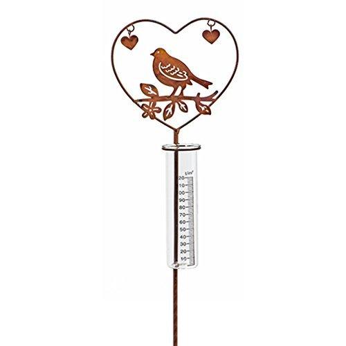 Regenmesser Herz Metall Glas Gartenstecker Gartendeko mit Vogel. Von Haus der Herzen® unbekannt