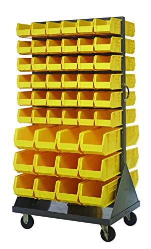 (Quantum Storage QMD-36H-230240YL Mobile Double Sided Gray Louvered Rack System with Bins, 36