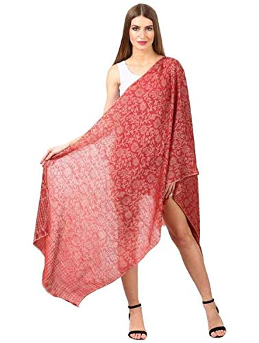 Women's SilkPashmina Reversible Floral Scarf, Soft and Warm (Maroon)