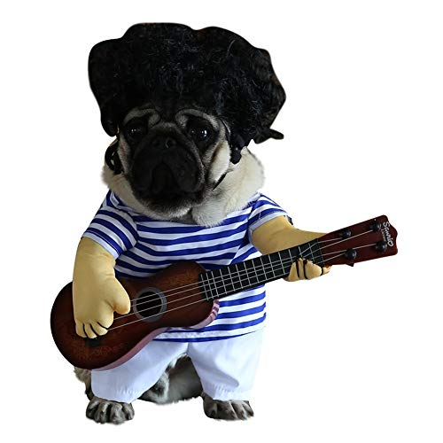 Dog Sets - Funny Dog Guitar Player Costume Dress Up Party Halloween Pet Clothes Apparel - Boys Sets Girls Sets Fancy Computer Flash Cosplay Dress Piano Fast Choker Music Violin Guitar Brooch ()