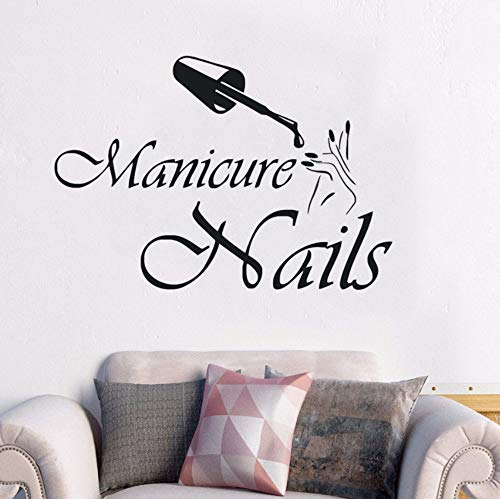 Dalxsh Wall Decal Window Sticker Nails Ploish Wall Mural Manicure Design Vinyl Wall Sticker Nail Art Beauty Salon Decoration 57x40cm