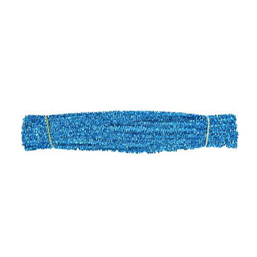 100 Pieces Glitter Chenille Stems Pipe Sticks Cleaners For Kids Craft Educational Toys 300 x 6 mm Light blue
