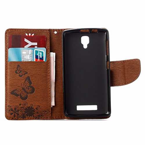 Case Skin Flap Lenovo Cover Case Yiizy Slot Cards Pu Shell Cover Wallet Housing Protective Butterfly Flower A1000 Case Shell Stand Slim Bumper Premium marró Style Leather Design Flip 1zxqwz0