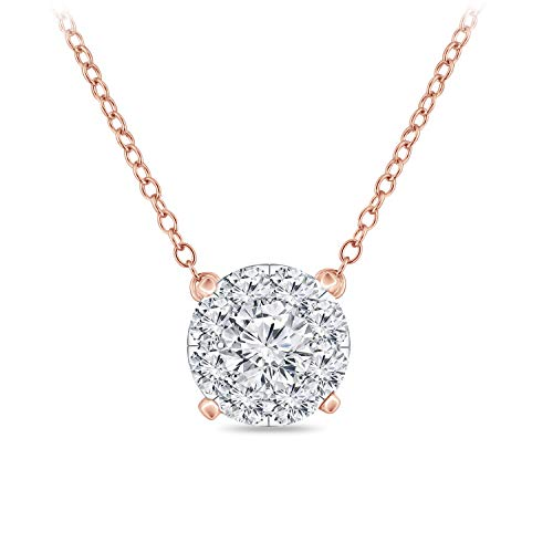 (Diamond Wish 14k Rose Gold Round Pave Cluster Diamond Necklace (3/8 cttw, O.White, I2-I3) 16 to 18