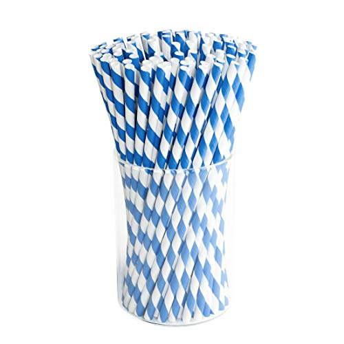 Blue Paper Drink Straws Biodegradable - Value Pack