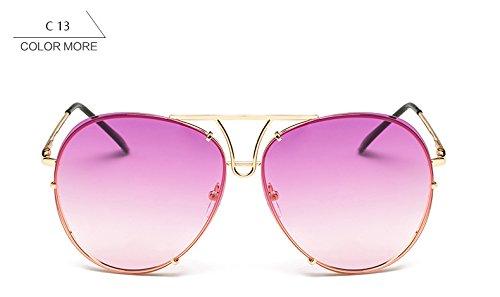 gafas mujer gafas bastidor plata piloto grande Oro sol de Señoras ZHANGYUSEN sin azul para reborde nuevo sobredimensionado de claro mujeres sol púrpura rosa 8q7nwvXgx