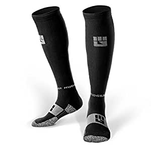 MudGear Compression Socks - Men's and Women's Running Socks Built Strong for Outdoor Sports Performance & Recovery - 1 Pair (Black/Gray, Small)