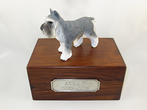 Beautiful Paulownia Small Wooden Urn with Gray Schnauzer Figurine & Personalized Pewter Engraving