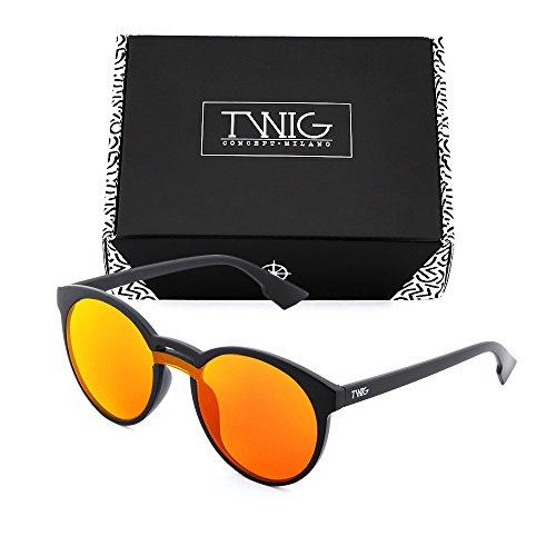 de Naranja redondo hombre Negro mujer TWIG Gafas GOYA sol espejo TzxqPdP1