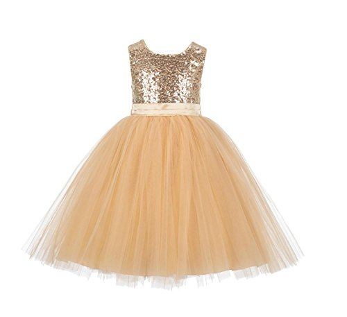 (ekidsbridal Wedding Formal Sequins Bodice Ruffle Tulle Flower Girl Dress Easter Toddler Reception Pageant Occasions Gown J122)