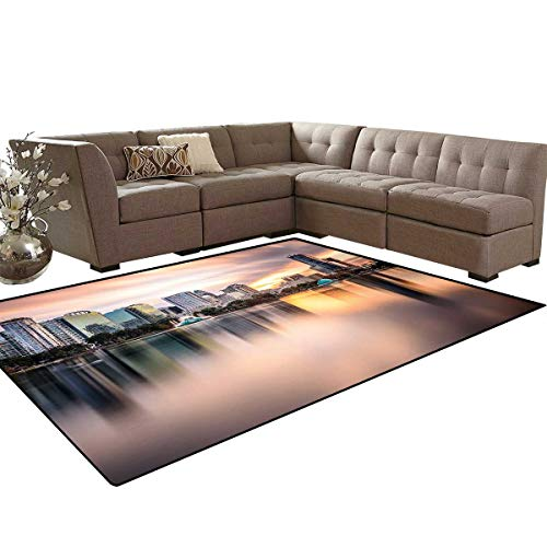 American Bath Mat 3D Digital Printing Mat USA Florida Downtown City Skyline View from The Lake Foggy Scenic Panorama Extra Large Area Rug 6'6
