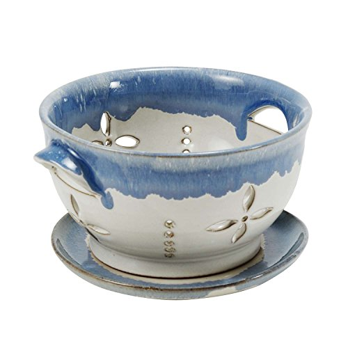 Small Ceramic Berry Colander With Saucer 'Bowl of Berries Small Colander' - Indian Pottery Bowl