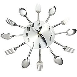 GBlife Home Wall Clock, 3D Removable Stainless Steel Material Knife Fork Spoon Analog Home Decoration for Kitchen Living Room Bedroom