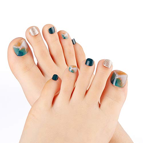 New Style Fake Toe 24pcs Summer Blue and Silver Glitter Solid Short Square False Toe Nail Full Cover with designs