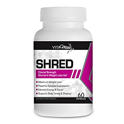 Vitamiss Shred - Maximum Strength Fat Burner Diet Supplement for Women- Shred Weight Fast While Increasing Energy and Mental Focus!