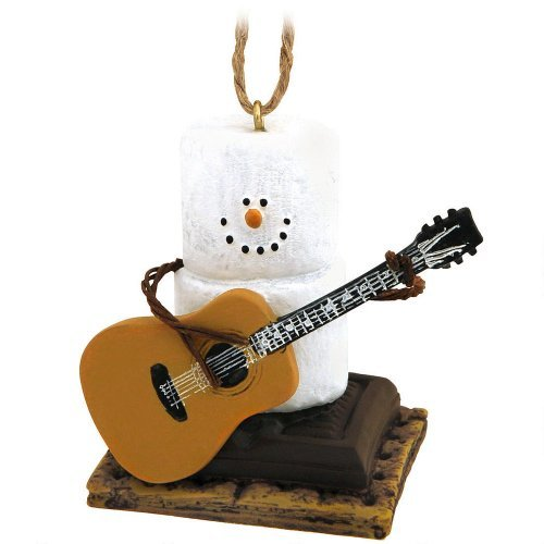 Snowman Ornament - Marshmallow Snow Man Playing Guitar On S'mores Chocolate and Graham Cracker - Holiday Christmas Tree Decor -
