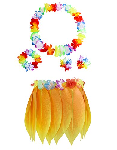 Elastic Hula Skirt Hawaii Party Yellow Leaf Skirt with Hibiscus Leis Headband Bracelets Garland(Adults 5PCS) -