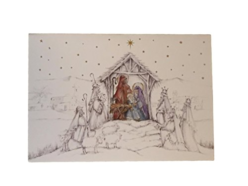 Nativity Scene Christmas Card (Holiday Boxed Christmas Cards Set of 28 - Variety to Choose From (Birth of Jesus Nativity Scene))