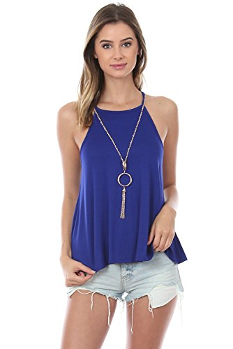 Made In USA High Neck Swing Cami Top with Keyhole Back with Detachable Necklace