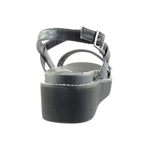 Angkorly Women's Fashion Shoes Sandals Mules - Platform - Thong - Rhinestone Wedge Platform 5 cm Black