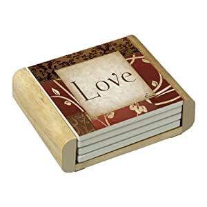 CounterArt Spice of Life-Love Absorbent Coasters in Wooden Holder, Set of 4