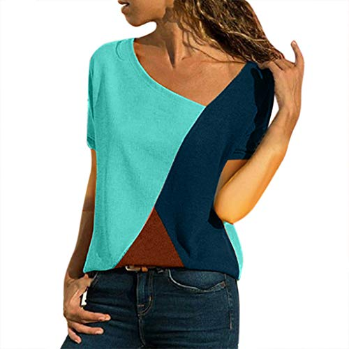 Willow S Women's 2019 Trend Multicolor Matching Strape O-Neck Casual Short-Sleeved Patchwork Striped Top Green