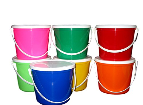 uckets & Lids, 80 Ounces 1 each Red Blue Yellow Orange Lime, Pink & Green ()
