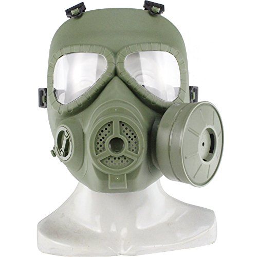 [Wosport Tactical Airsoft Game Full Face Protection Safety Mask Guard Toxic Cs Gas Mask (OD)] (Full Face Gas Mask Costume)